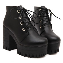 Free shipping 2015 new autumn shoes black ultra high heels thick heel boots lacing platform ankle boots women size 35-39