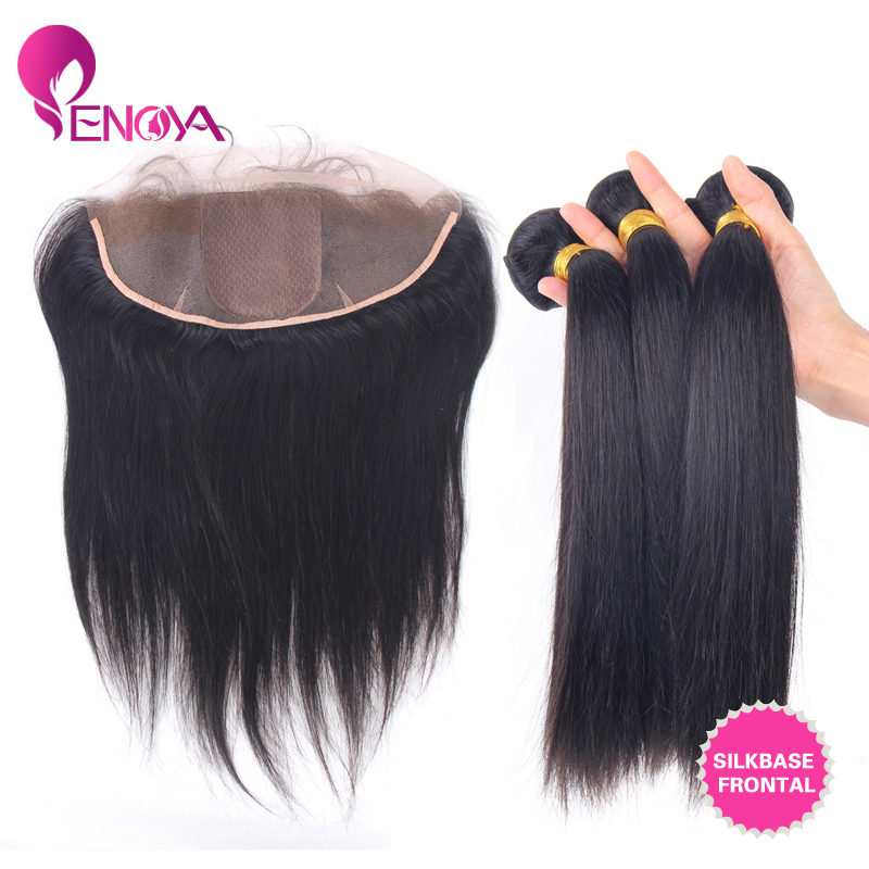 Free Shipping 13*4 Lace Frontal Hair Straight Lace Front Closure with 3 Bundles Hair Weft <br><br>Aliexpress
