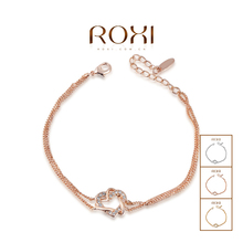 Austrian Crystal Rose Gold Double Heart Winding Bracelet SWA ELEMENT Austrian Crystal Bangle Free Shipping #2060012355A(China (Mainland))