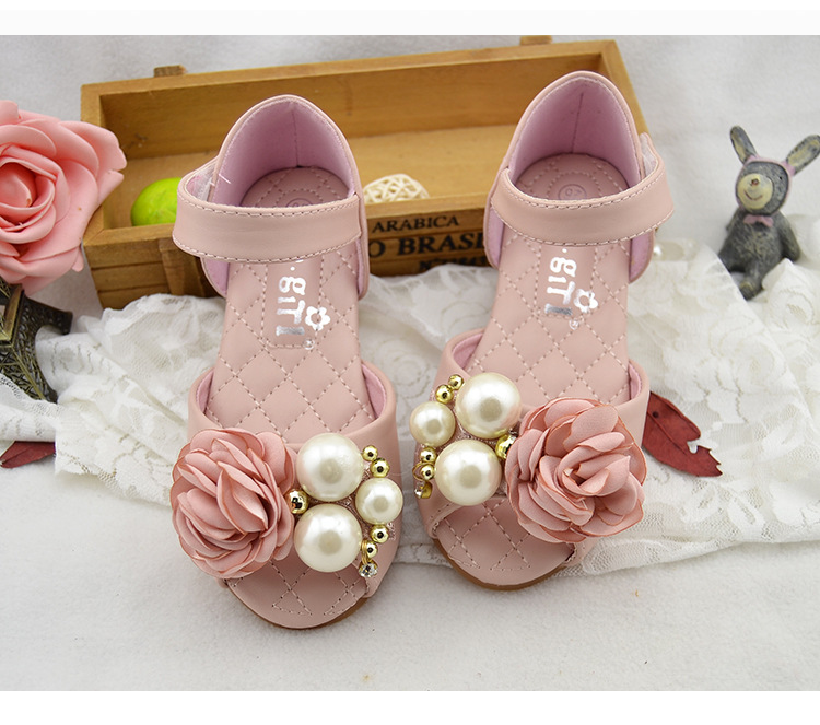 Free Shipping pearls Flower decoration Baby girls Spring dancing shoes Princess Spring wedding sandals Shoes Child clothing wear<br><br>Aliexpress