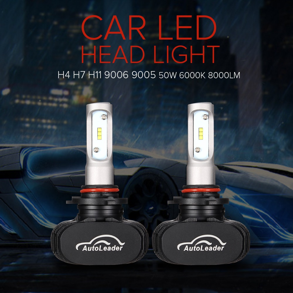 Autoleader 1 Pair Auto Car Automotives LED Headlight Lamp High Low Beam Bulb H4 H7 H11 9006 9005 50W/Set 6500K 8000LM Styling