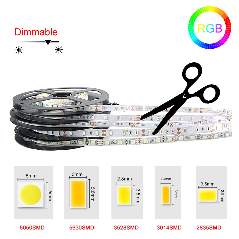SMD3528/5050/5630/3014/2835 5M 300Led non/ip65 waterproof RGB Led Strip Light fita led flexible string Ribbon lamp Ribbon tape()
