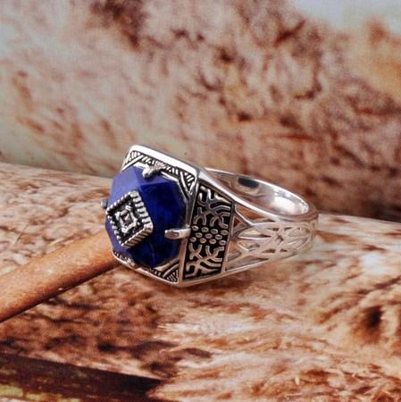 Handmade 925 Silver Lapis Lazuli Ring(China (Mainland))