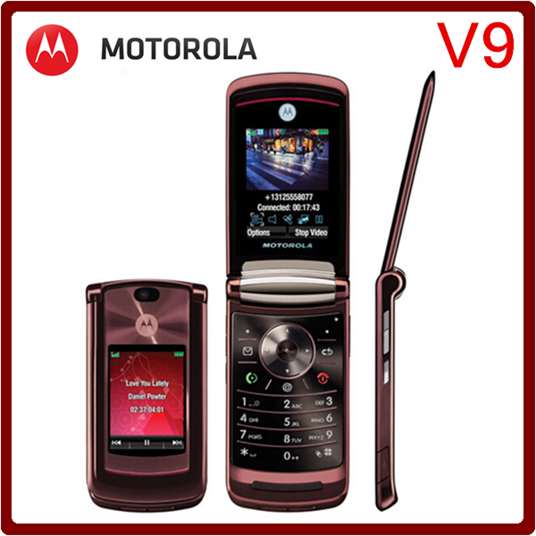 V9 Original Unlocked Motorola RAZR2 V9 2.2`` MP3 Player Refurbished Mobile Phone Free Shipping(China (Mainland))