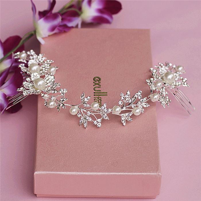 Silver Headdress Rhinestone Pearl Flower Bridal Headband Tiara Long Comb Elegant Wedding Hair Accessories(China (Mainland))