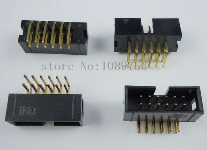 100 pcs 12 Pins 2x6 Box Header Connector IDC Male Sockets Right Angle 2.54mm<br><br>Aliexpress