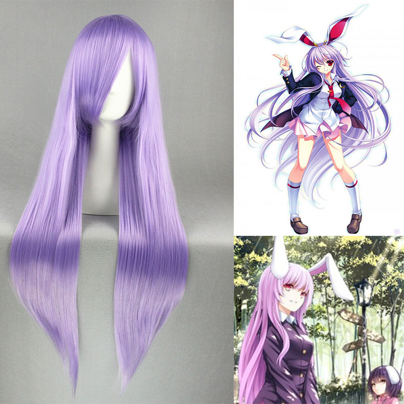 80CM TouHou Project Reisen Udongein Inaba Wig Lavender Straight Anime Cosplay Hair Light Purple Long Straight Wig LXFree wig cap(China (Mainland))