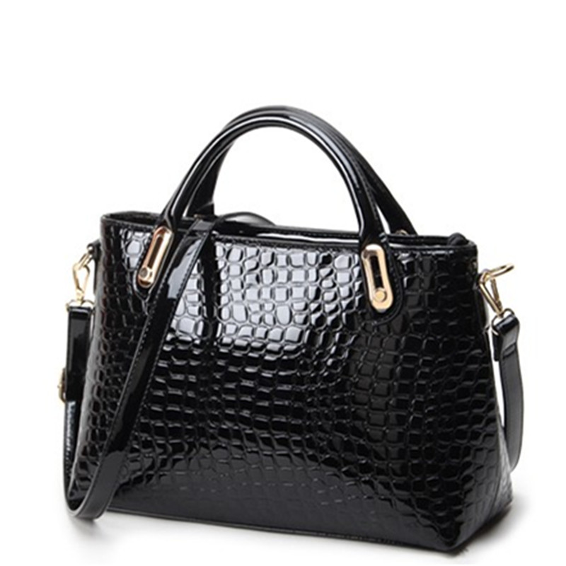 2015 Fashion solid color top cowhide crocodile skin pattern women genuine leather hand bag Tote messenger bag capable iPad mini<br><br>Aliexpress