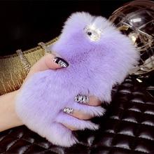 Luxury Rhinestone Bling Fluffy Soft Rabbit Hair Winter Phone case for iPhone 5C 6 6S 6 plus Fashion Soft Skin Mobile Phone Sets