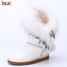 INOE borlas de lana forrada de piel de conejo de piel de zorro de cuero de piel de oveja de las chicas de moda de invierno la nieve para las mujeres zapatos de invierno a prueba de agua(China (Mainland))