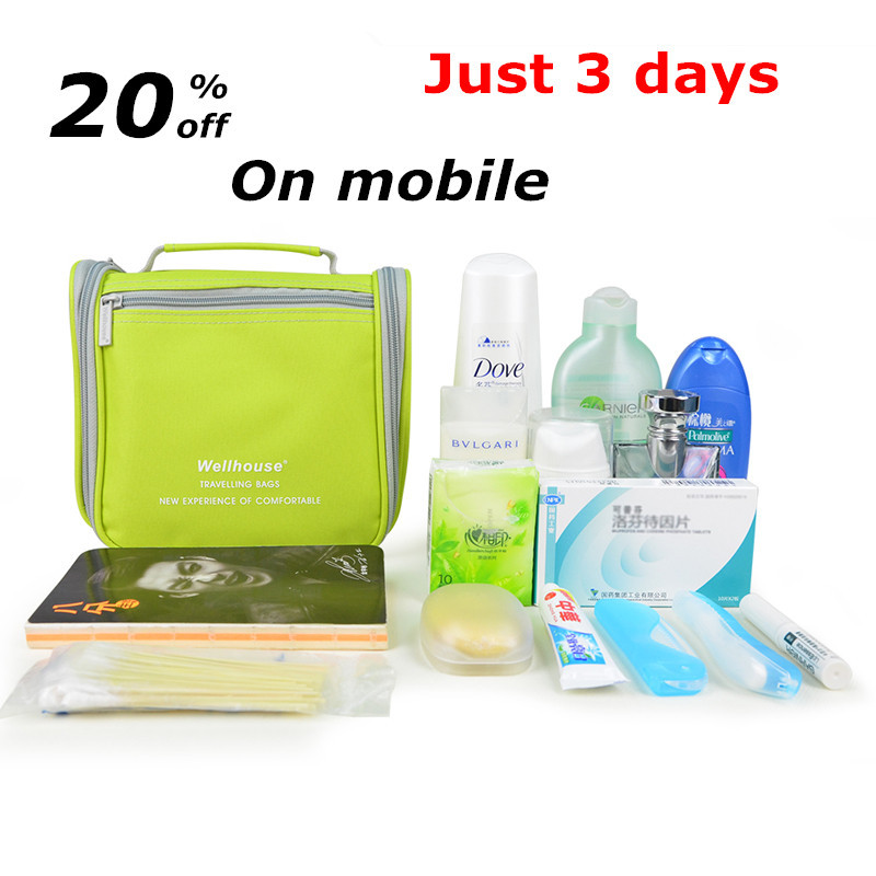 New! Travel women portable big cosmetic bag set makeup organizer man wash pouch deluxe large mesh travel hanging toiletry bag(China (Mainland))
