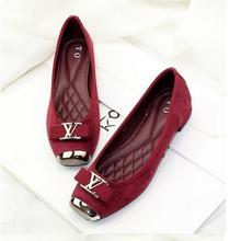 2016 New 35-42 Luxury Brand shoes Genuine Leather fashion Metal buckle square head bow flat shoes woman comfort shoes(China (Mainland))