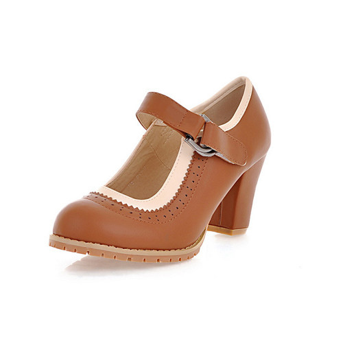 High Heels Women Heels Autumn Round Toe Mary Jane Office Chunky Women High Heels Ladies Small Size 34 Brown Shoes Woman D3108(China (Mainland))