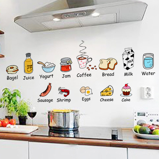 Creative cartoon kitchen door stickers fridge stickers lovely restaurant food fruit removable wall sticker Tips(China (Mainland))