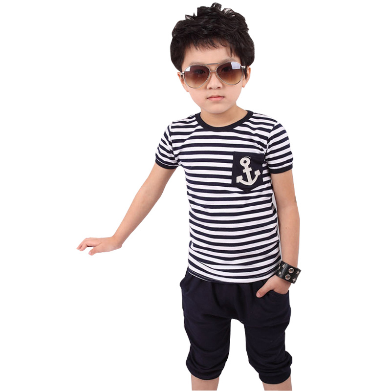 Children's clothing new summer fashion kids sets boys navy striped t-shirt pants suits - ben's store