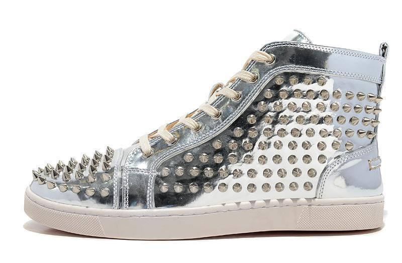 Lastest fashion genuine leather rivets studded patent silver/golden shoes 2015 luxury brand plus size men casual shoes(China (Mainland))