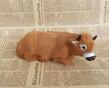 new simulation cow toy polyethylene & furs handicraft lying cow doll gift about 24x10x10cm