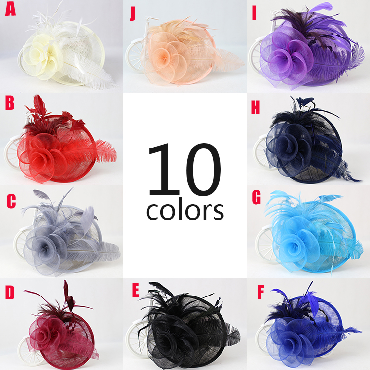 Здесь можно купить  Wholesale 6pcs/lot, New Design 10 color feather fascinator hat,sinamay fascinators and hats for wedding/races/party/church  Одежда и аксессуары