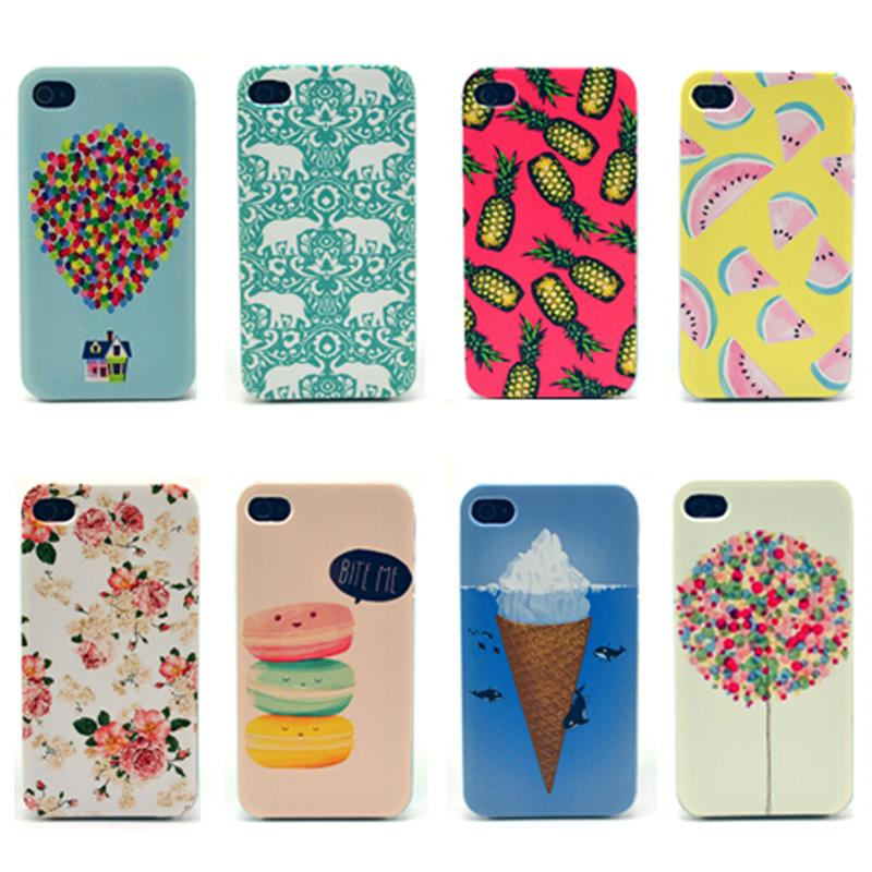 Hot Sell Macarons Fly Balloon Balloon House ice cream sweet and Green Elephant Transparent edge Phone case for iPhone 4 4s 4G(China (Mainland))