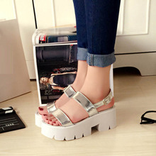 Thick Crust Creepers Muffin Open Toe Black Sliver 2015 Summer Sandals For Women Discount Cheap Hot Sale Casual Korean Shoes(China (Mainland))