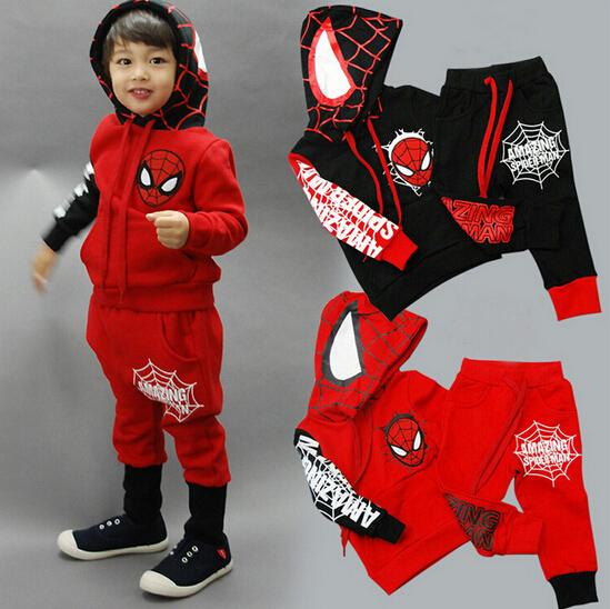 autumn boy set Spider-man fleece suits children  HOODY  kid sweat suit new year clothing 2colors red and black free shipping<br><br>Aliexpress