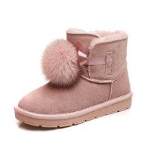 Thời Trang Mới Nhất Giày Ankle Boot Da Thật Chính Hãng Da + Lông Tự Nhiên Ủng Cáo Lông Tóc Bóng Giày Nam Nữ Bằng Phẳng cotton Ấm Giày(China)