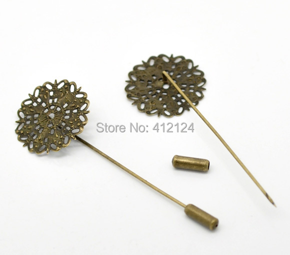 150Pcs Bronze Tone Brooch Back Pins Filigree Flower Jewelry Making Component Findings 7.5x2.5cm<br><br>Aliexpress