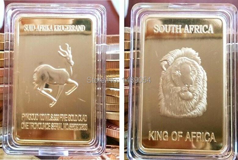 50 pcs/lot, king of south Africa wild life animal lion and deer gold plated souvenir bullion bar.(China (Mainland))