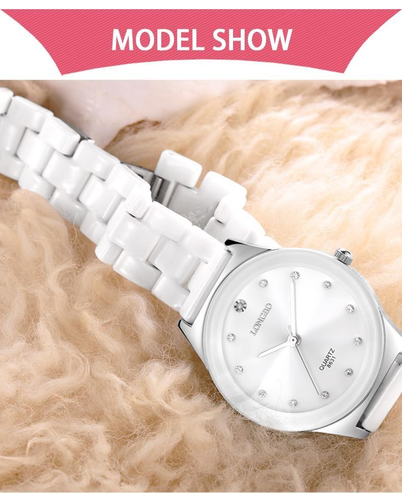 LONGBO Бренд Влюбленных Керамические Часы 2016 Женская Мода Розовое Золото Горный Хрусталь Кварцевые Часы Мужчины Повседневная Спорт Наручные Часы Relogio 8631