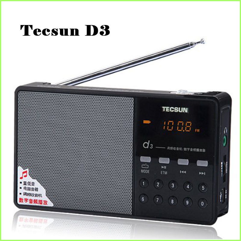 Hot Sale Tecsun D3 FM Stereo Radio Music MP3 Digital Song Selection TF Card Speaker With Built-In Speaker Free Shipping(China (Mainland))