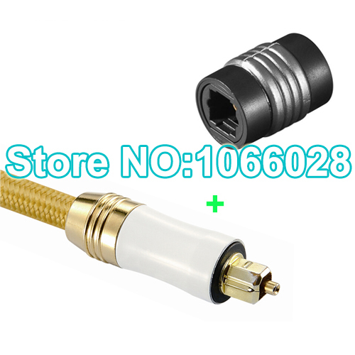 Free shipping 1 pcs 1.5m Digital Optical Fiber Toslink Audio Cable +1 Pcs Toslink Female to Toslink Female adapter(China (Mainland))