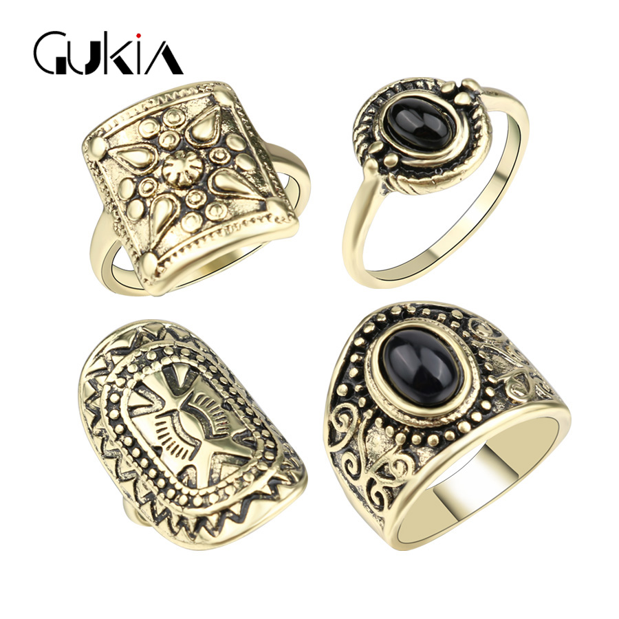 Gukin Fashion Punk Black Turquoise Midi Rings For Women Plating Ancient Gold Vintage Jewelry Ottoman Style Jewelry Ring 4Pcs/Lot(China (Mainland))