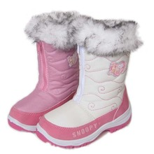 2013New Girl's White and Pink Branded Winter Shoes Thick Lining Kid's Snow boots Anti-slip waterproof size 27-35(China (Mainland))