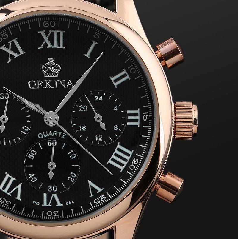 2016 Orkina Мужчины Розовое Золото 6 Руки Человек Платье Кварцевые Спортивные мужские Часы Мужские Wirst Часы Подарочной Коробке Бесплатно корабль