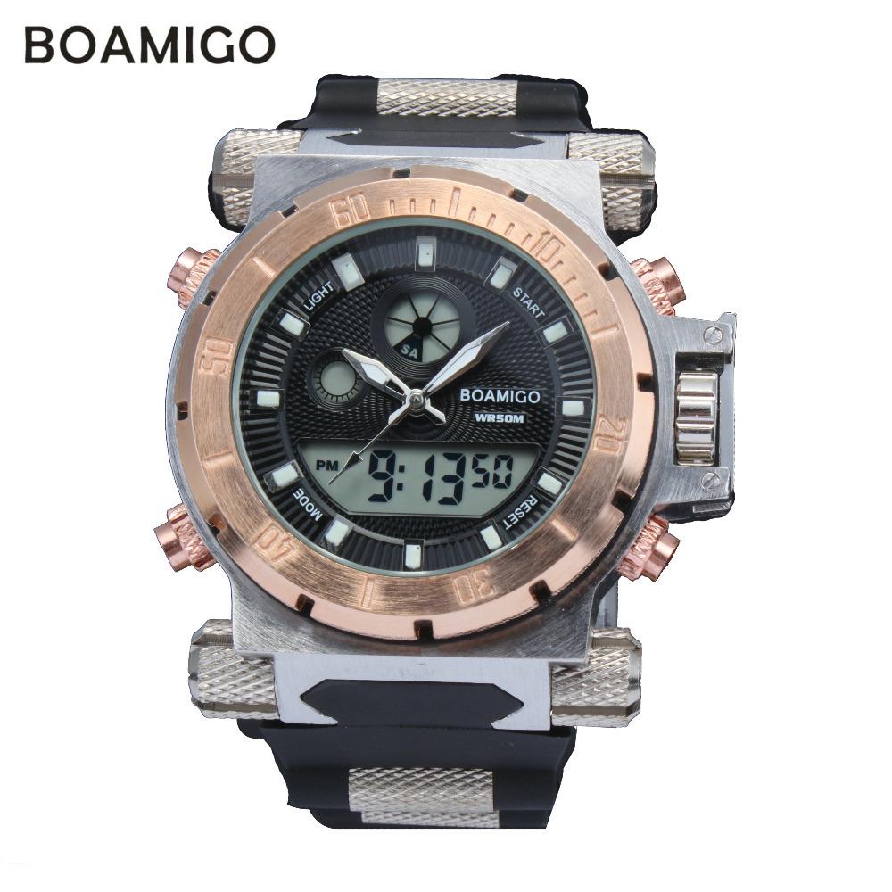2015 luxury BOAMIGO brand Men military sports watches Dual Time Quartz Digital Watch rubber band wristwatches relogio masculino(China (Mainland))