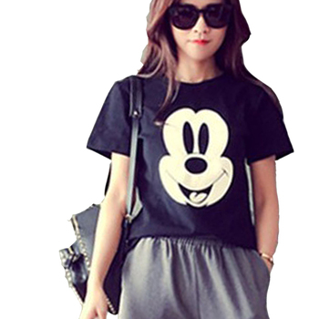 New Women Hot Print Regular Short Sleeve Summer Casual O-Neck Fashion Tops Tees Character High Quality Mickey Loose Large Size