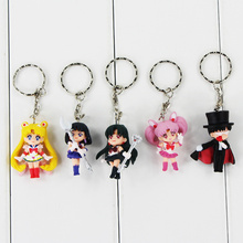 5Pcs/Lot Anime Sailor Moon Mars Jupiter Venus Mercury Keychains Key Ring Pendants Gift for Kids 4-5cm kunai pet
