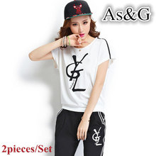 2 pieces/Set Women Sets Black White Sport Sets Summer Casual Short Sleeve Print Letter T-Shirt And Pants Sport Suits Plus Size