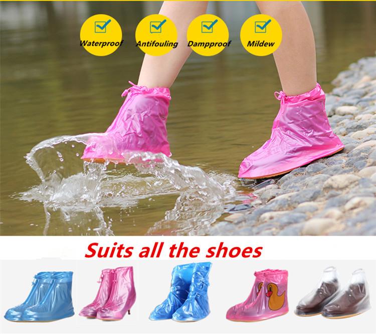 New Women Rain Shoes Flat Ankle Boots Waterproof Cusual Women Shoes Covers Non-slip Shoes Woman Covers Platform Rain Boots #D31