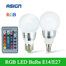Buy E27 E14 LED RGB Bulb Lamp AC110V 220V 5W LED RGB Spot Light Dimmable Magic Holiday RGB Lighting+IR Remote Control 16 colors for $3.59 in AliExpress store