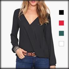 by dhl or ems 200 pieces Wrap Deep V Neck Shirt Women Blouses Women Tops Chiffon Blouse Blusa Roupas Camisas Blusas Femininas(China (Mainland))