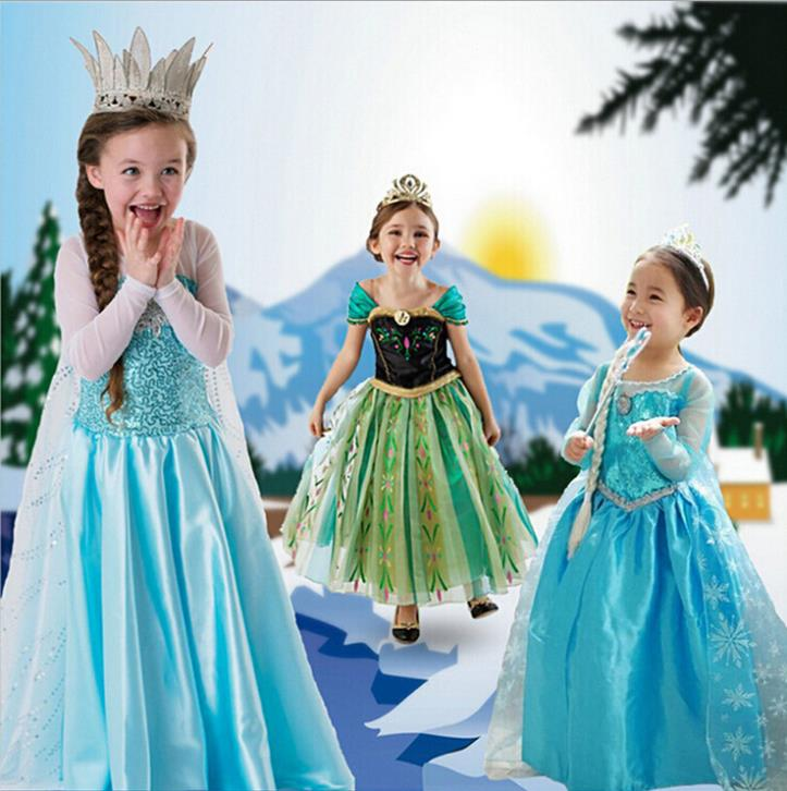 Fashion Movie Cosplay Baby Girls Dress Retail 3-9T Princess Elsa&Anna Lace Tutu Kids Party Clothes BBY - SNOW LOVE store