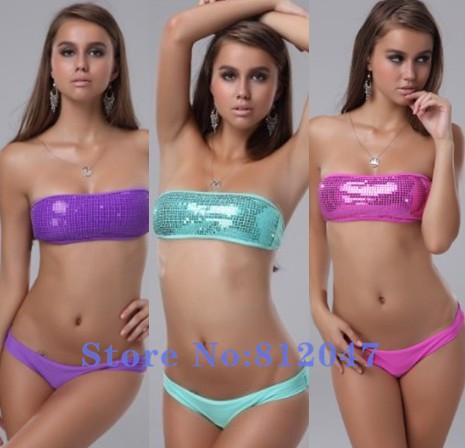 sequine bikini swimwear set 2015 swimsuit Sexy Women Swimwear Free Shipping Fashion Shining Bling Swimsuit Gift(China (Mainland))