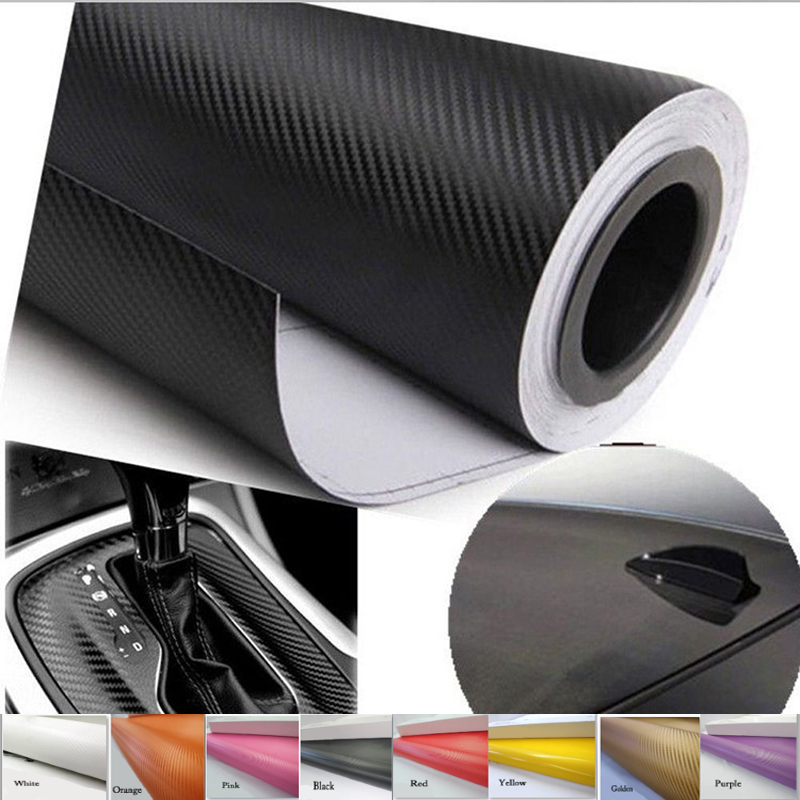 Car Styling 3D Carbon Fiber Vinyl Film 152*10/30/60CM Waterproof DIY Decoration Sticker Black White Gray(China (Mainland))