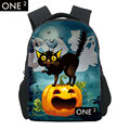 2015 New Arrival Halloween Backpack for Kids Colorful Witch Printing Kids Polyester Backpack Free Shipping