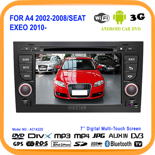 7'inch Car DVD GPS Navigation WIFI Bluetooth Audio Android 5.1 Market 1.6G Quad Band For Audi A4 2002-2008 Seat Exeo from 2010(Hong Kong)