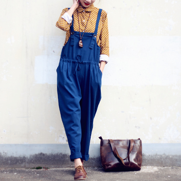 Women Casual Vintage Overalls Trousers Linen Pleated Cuffs Retro 2016 New Plus size Straps Jumpsuits Casual Pants Loose Rompers