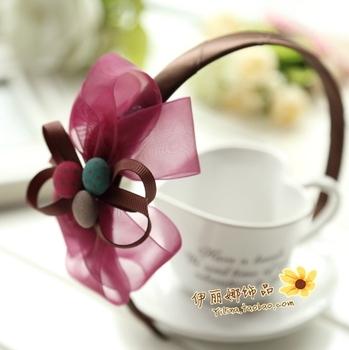 2013 new arrive Wine red silk yarn sheer three-dimensional bow hair accessory hair bands headband bride 1017  wholesale