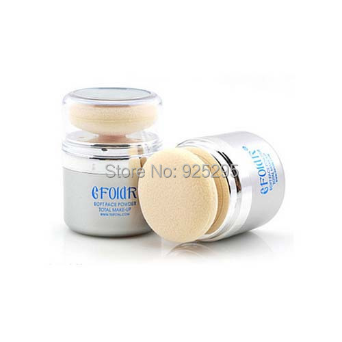 2in1 Bare Facial Compact Skin Make up Loose Mineral Powder Sponge Puff 18g New(China (Mainland))