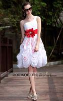 dorisqueen готовы носить дешевые одно плечо Принцесса Свадьба платья платья короткие для пояса 6026 красный цветок